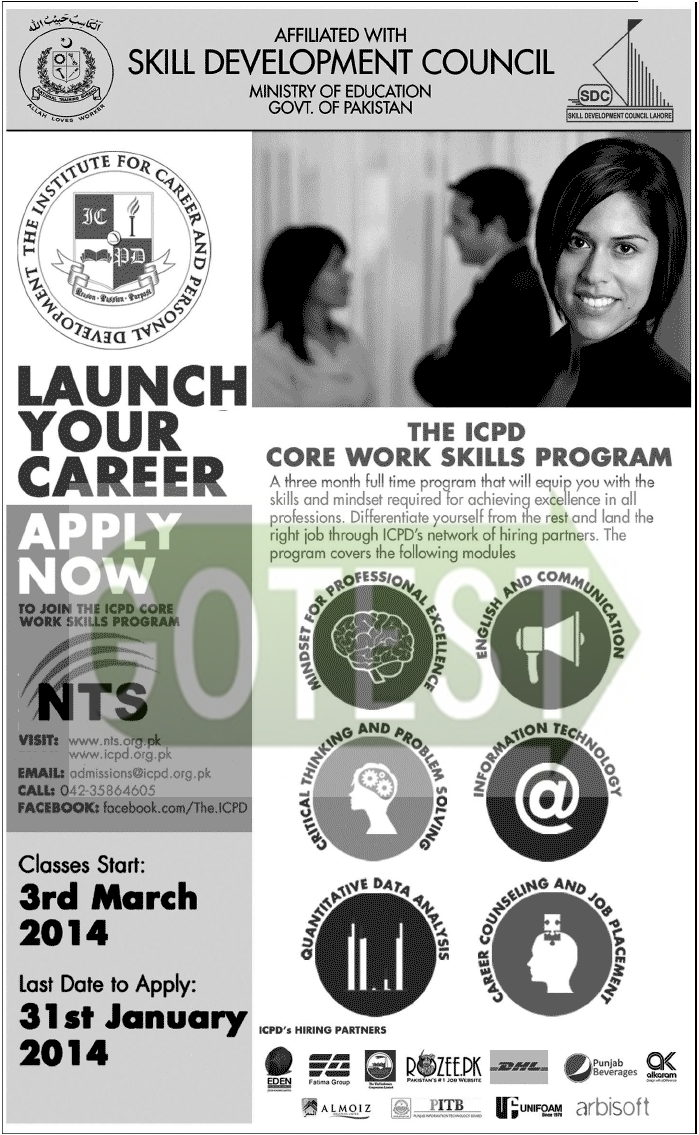 Ministry of Education Skill Development Council NTS ICPD Core Work Skills Program 2014 Apply Now