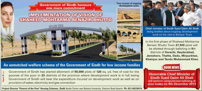Shaheed Benazir Bhutto Housing Scheme 2014 Draw Result