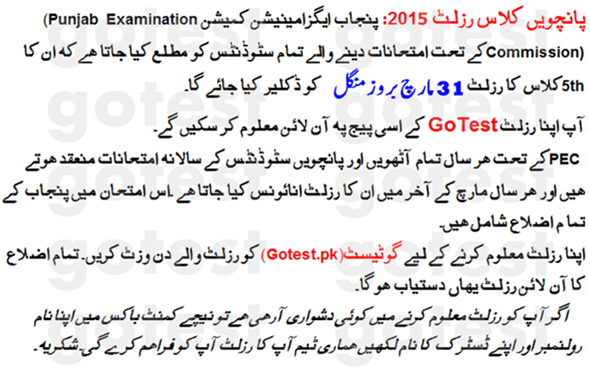 Punjab Boards 5th grade Results 2015