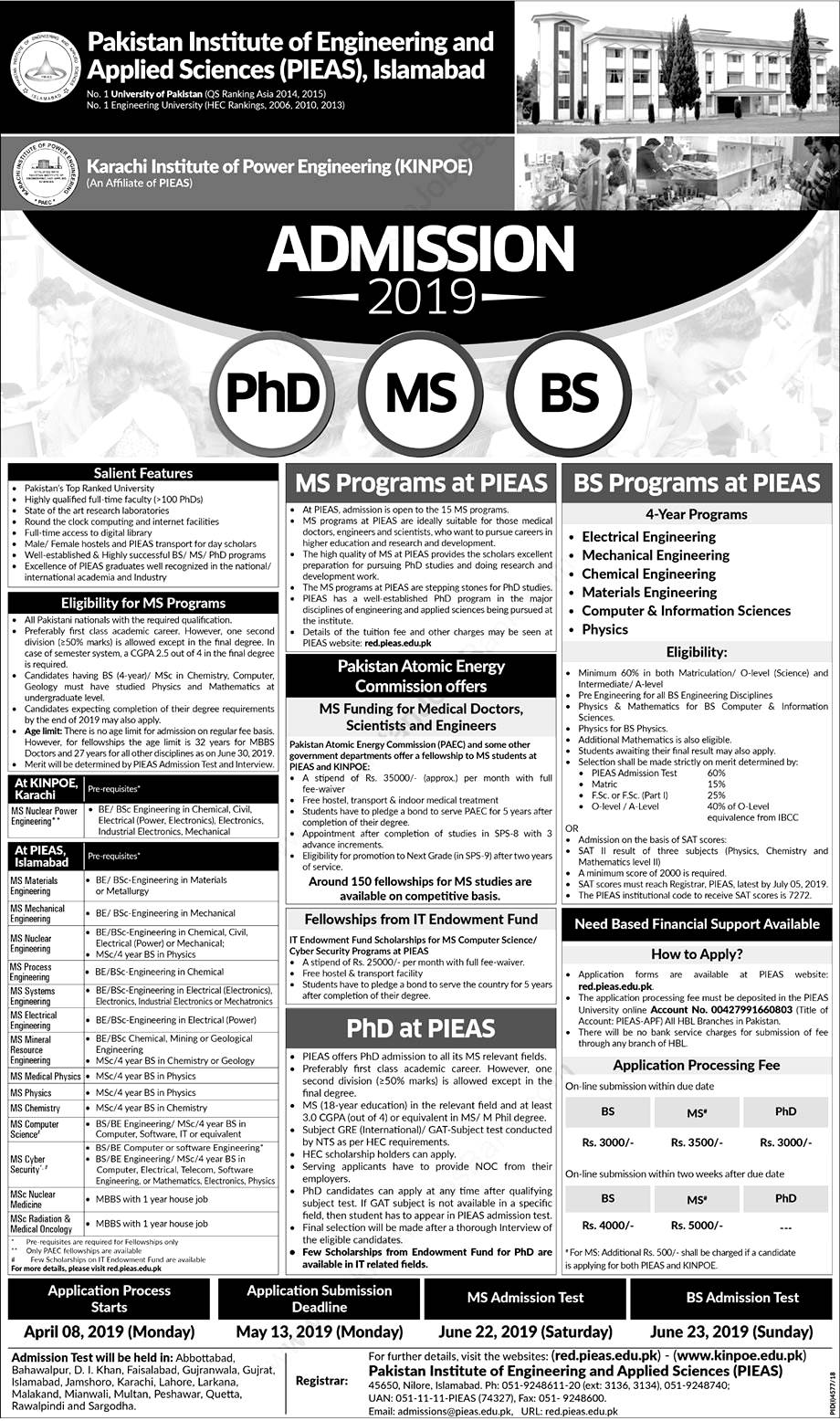 PAEC Postgraduate Fellowships Program at PIEAS and KINOPE for Engineering Science and Medicine Students