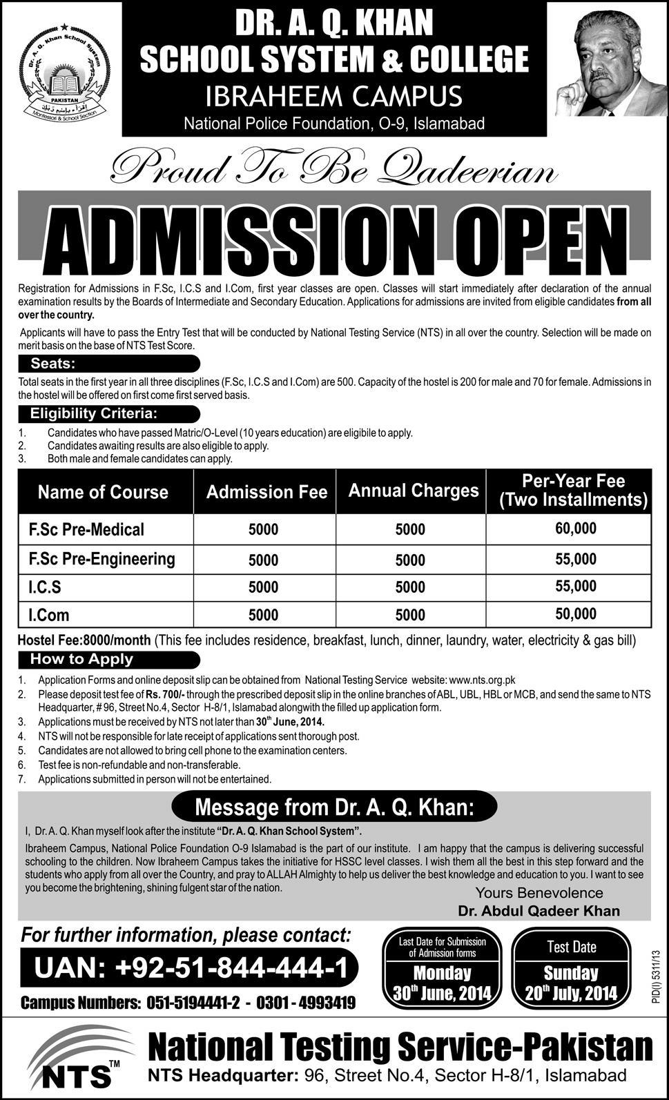 DR AQ Khan College NTS Entry Test Online Preparation