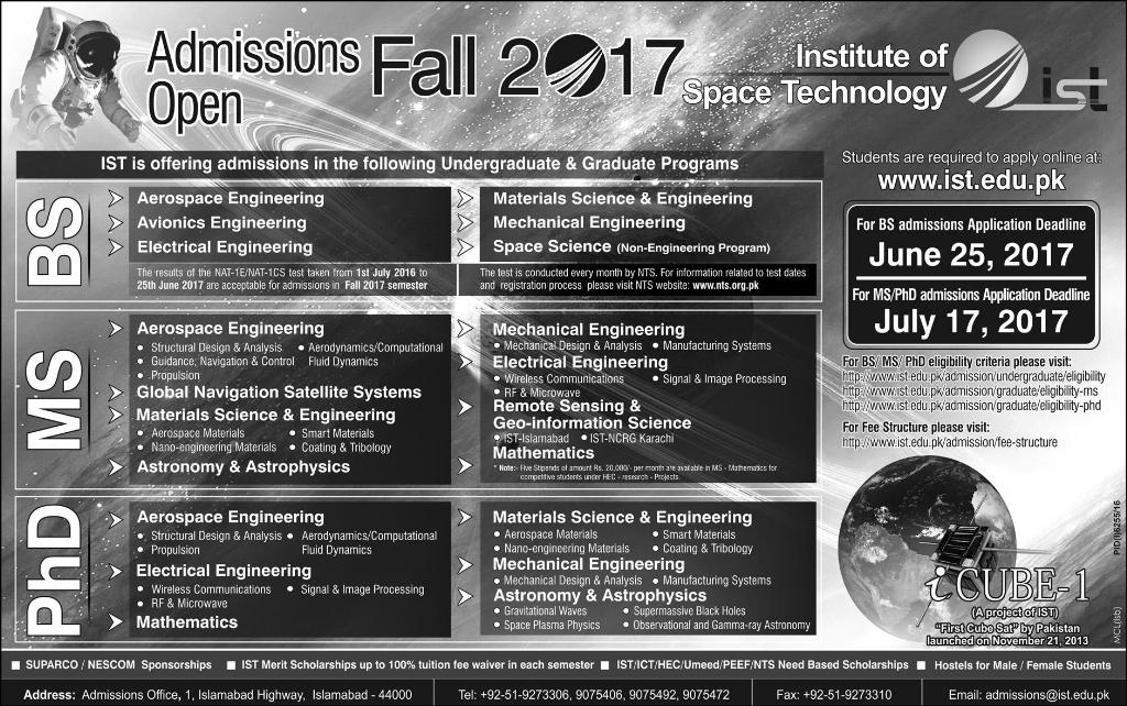 Institute of Space Technology Islamabad Admissions Programs Details