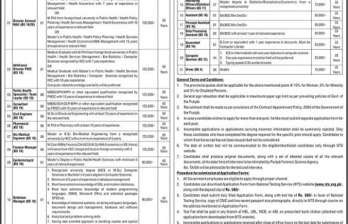 Punjab Primary and Secondary Healthcare Department Jobs 2016 NTS Test Preparation Online