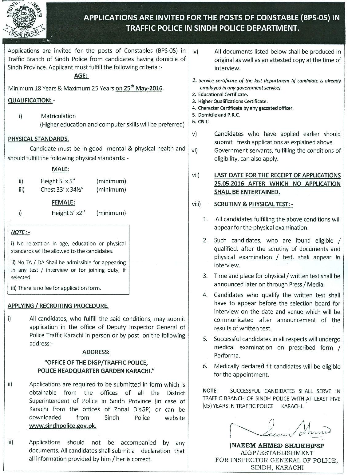 Sindh Traffic Police Male Female Constables jobs 2016