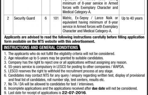 Lahore LESCO Security Staff / Guards Jobs 2016 NTS Test Preparation Online Application Form Submission Last Date