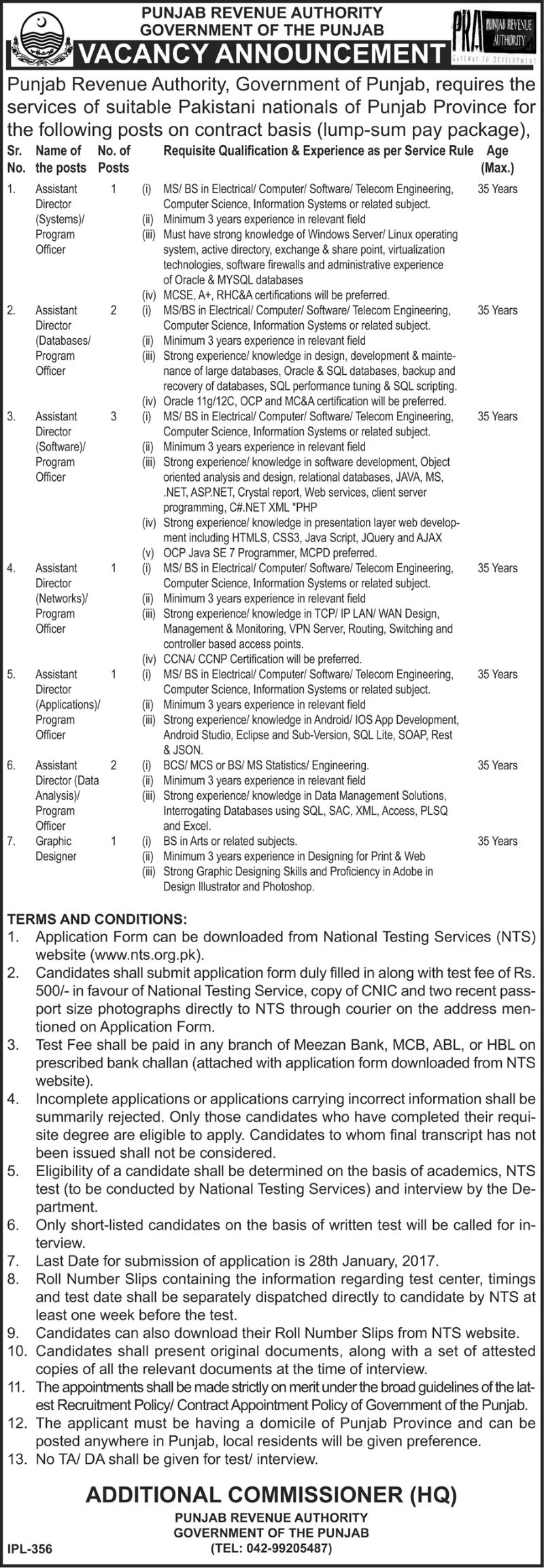 Punjab Revenue Authority NTS Jobs Download Application Form Last Date Eligibility