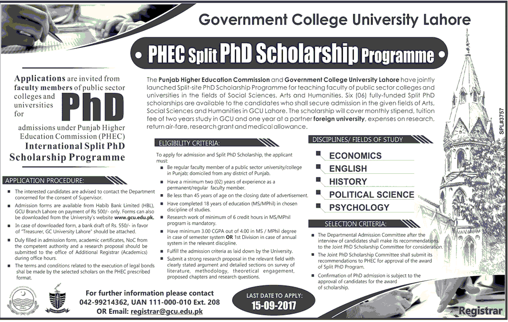 GC University Lahore PhD Scholarships 2017 by Higher Education Commission