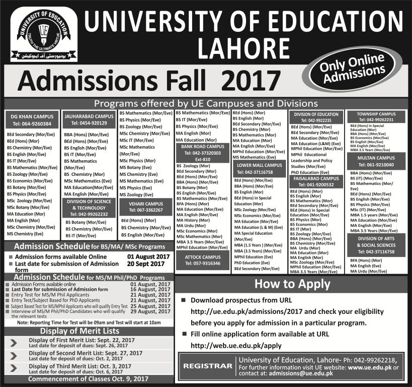 University of education admission fall 2017 lahore