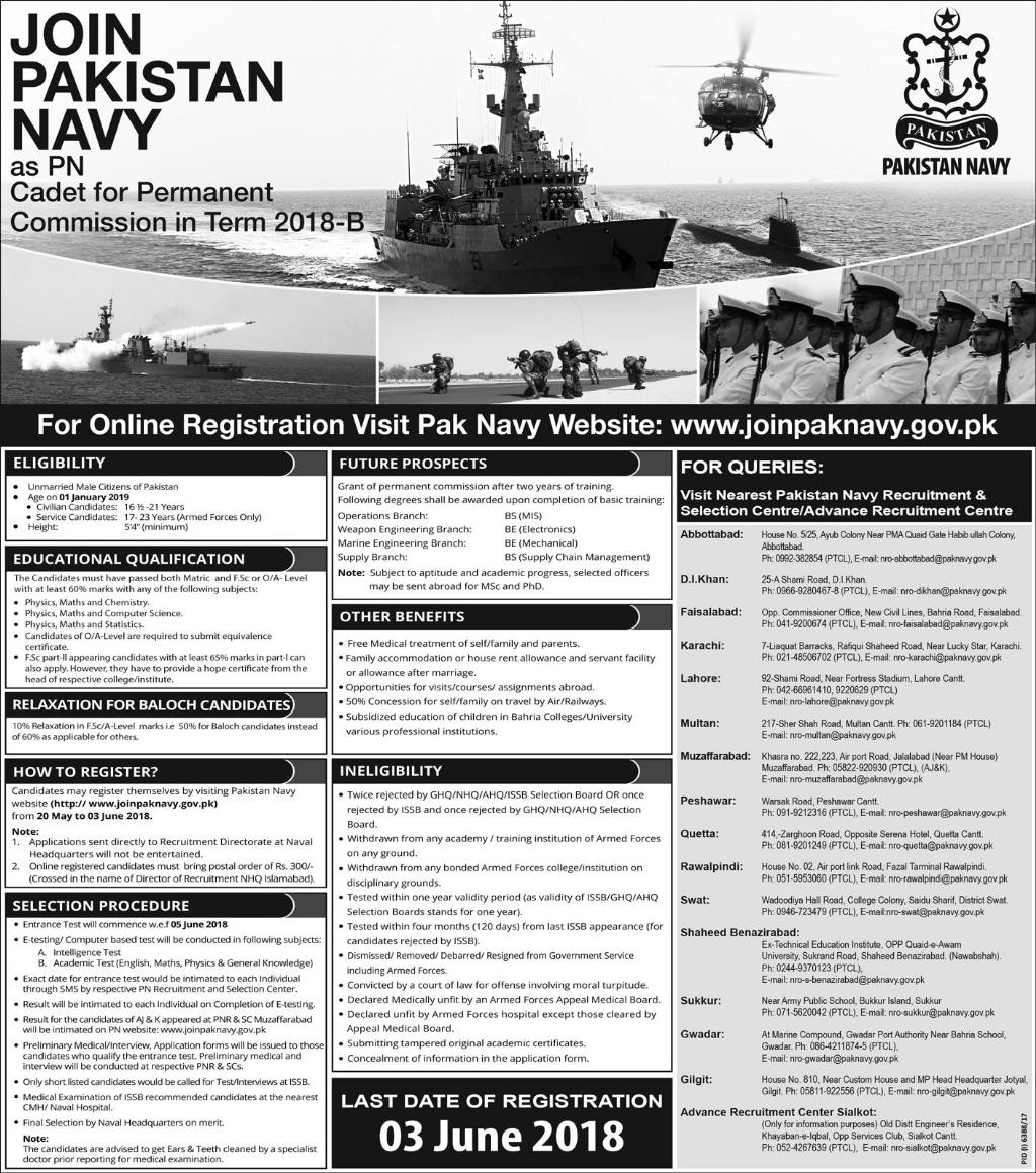 Join Pak Navy as permanent Commission 2018