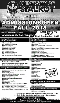 University of Sialkot Admission Fall 2018