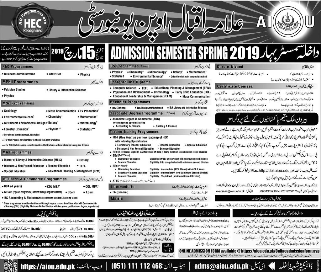 AIOU Spring Admission 2019 Matric Inter FA BA BEd BCom Ma MEd Forms and Last Date to Apply Online