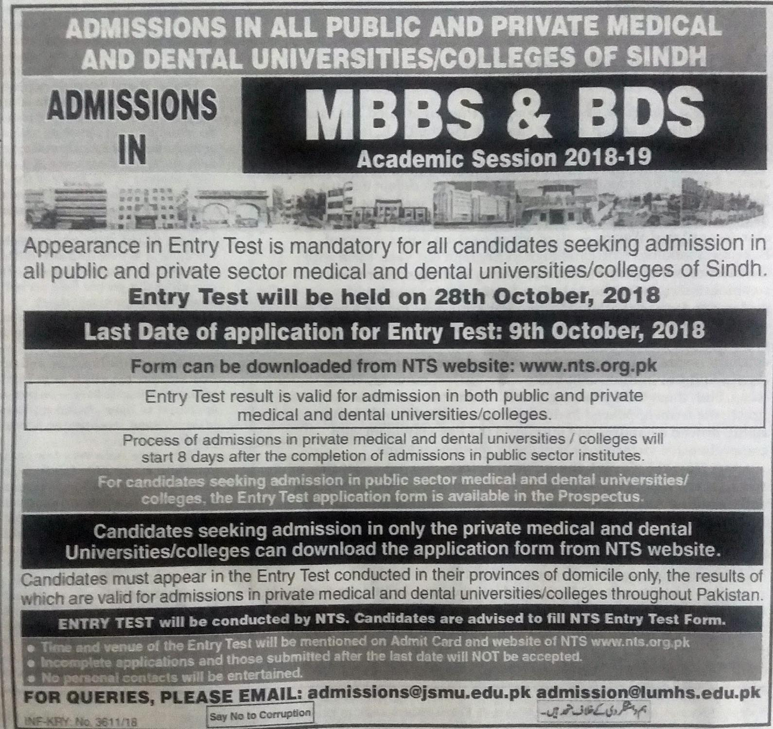 All Sindh Medical Universities NTS Entry Test 2018-19 Online Preparation Results and Merit list