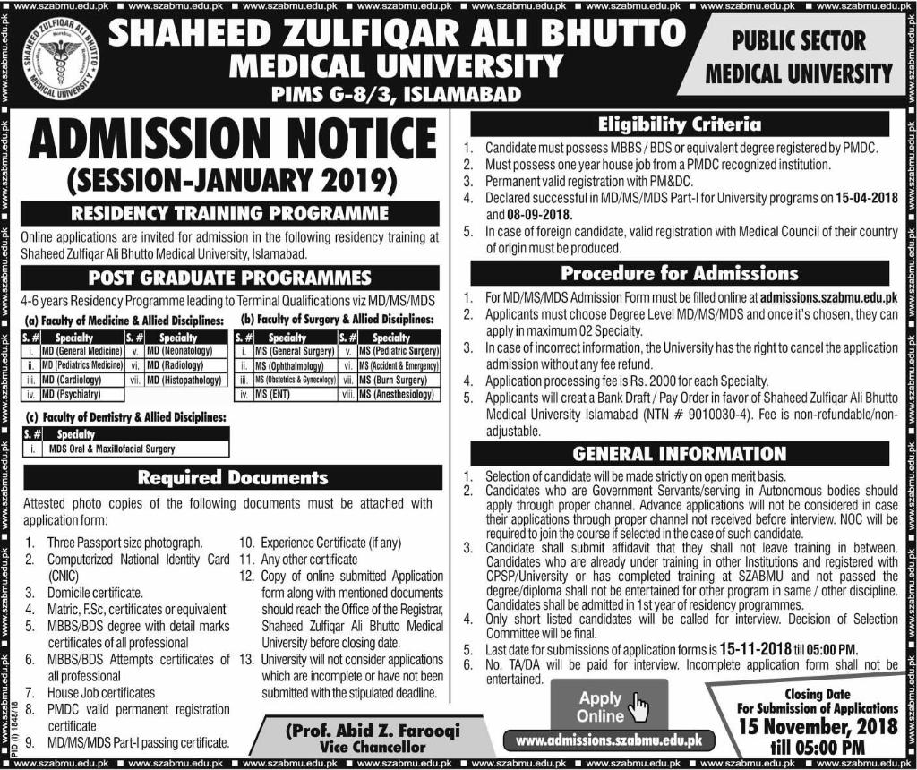 SZABMU PIMS Islamabad Admission 2018 Apply Online Test Preparation