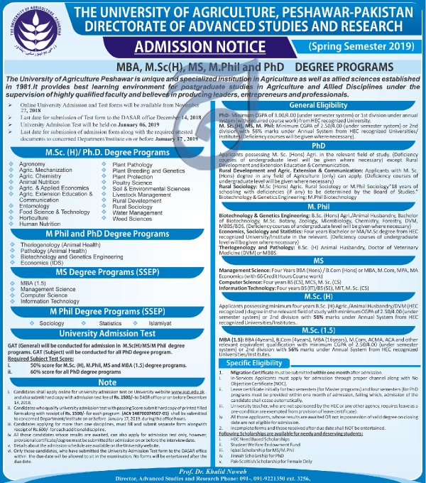 The University of Agriculture Peshawar Admission 2019 in MBA MSc MS Programs