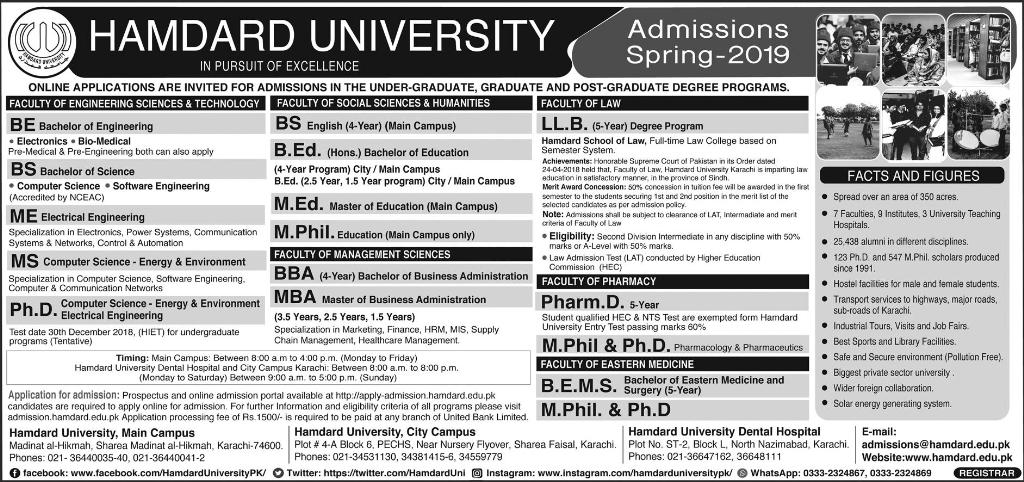 Hamdard University Admission 2019 Spring Apply Online