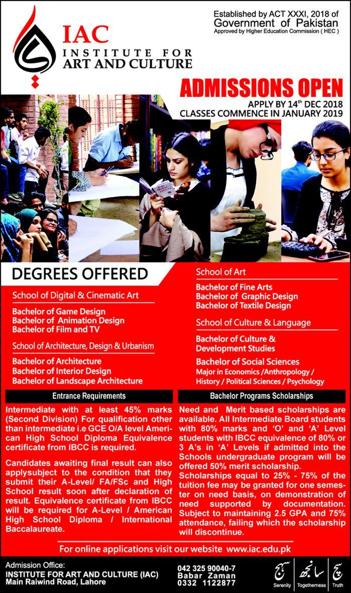 Institute for Art and Culture IAC Lahore Spring Admission 2019