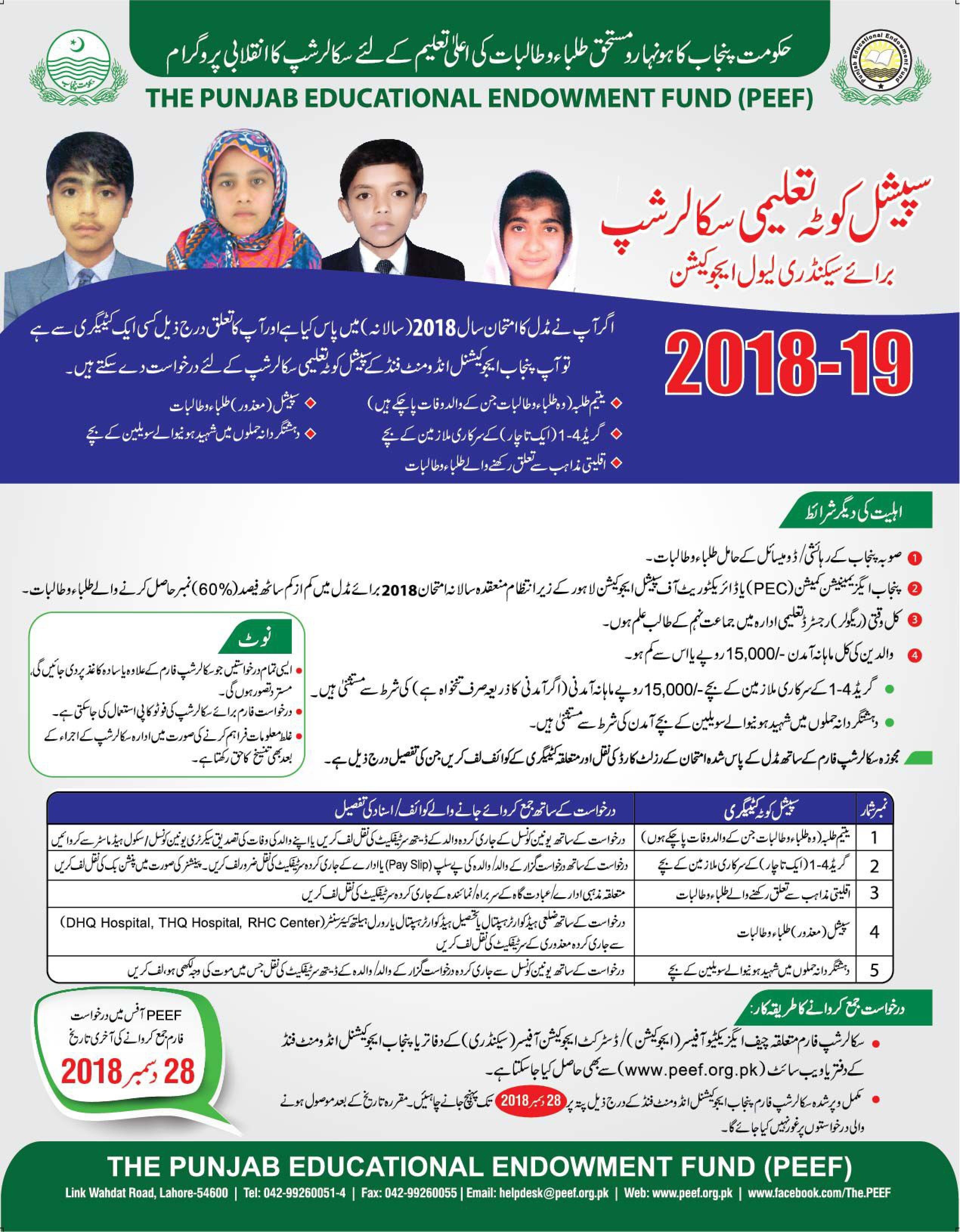PEEF Scholarship for Matric 2019 Application Form Download