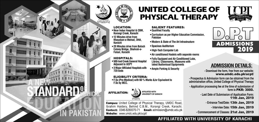United College of Physical Therapy UCPT Admission 2019 Apply Online