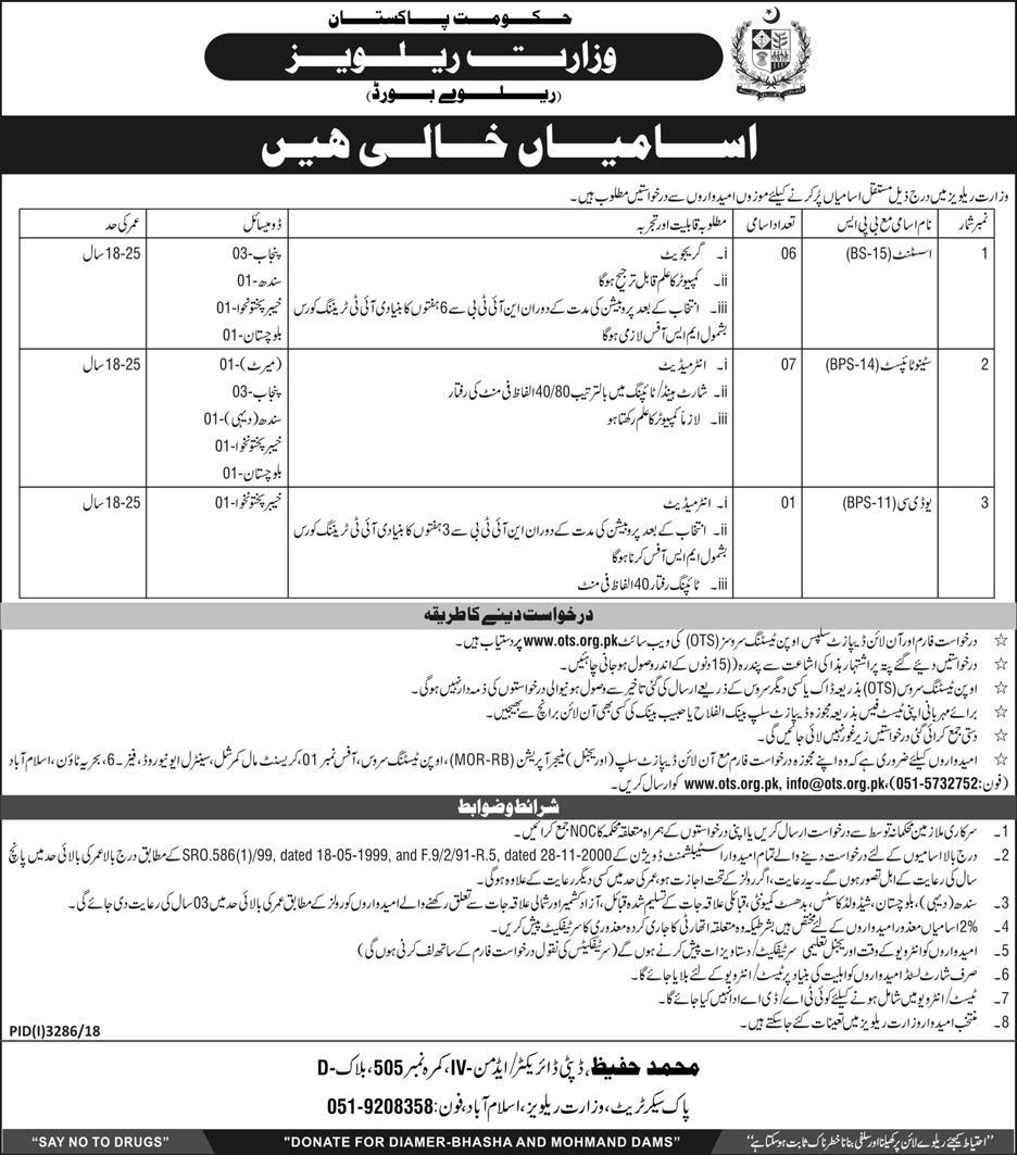 Pakistan Railways Jobs 2019 OTS Test Preparation mcqs Online