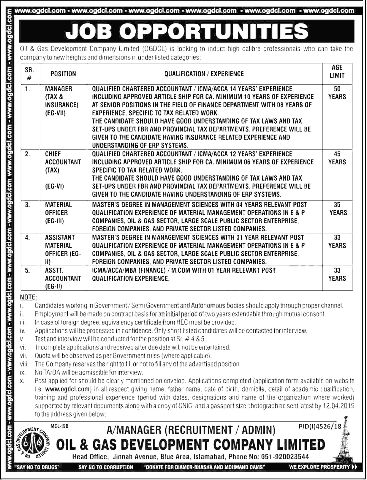 Oil and Gas Development Company OGDCL Jobs 2019 Application Form Download Eligibility Criteria