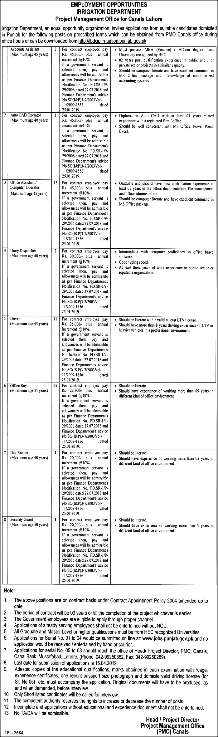 Punjab Irrigation Department Govt Jobs 2019 Application Form Download Eligibility Criteria