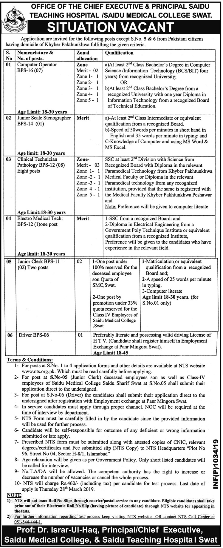 Teaching Hospital and Medical College Saidu Sharif Swat Jobs 2019 NTS Test Application Form List of Candidates