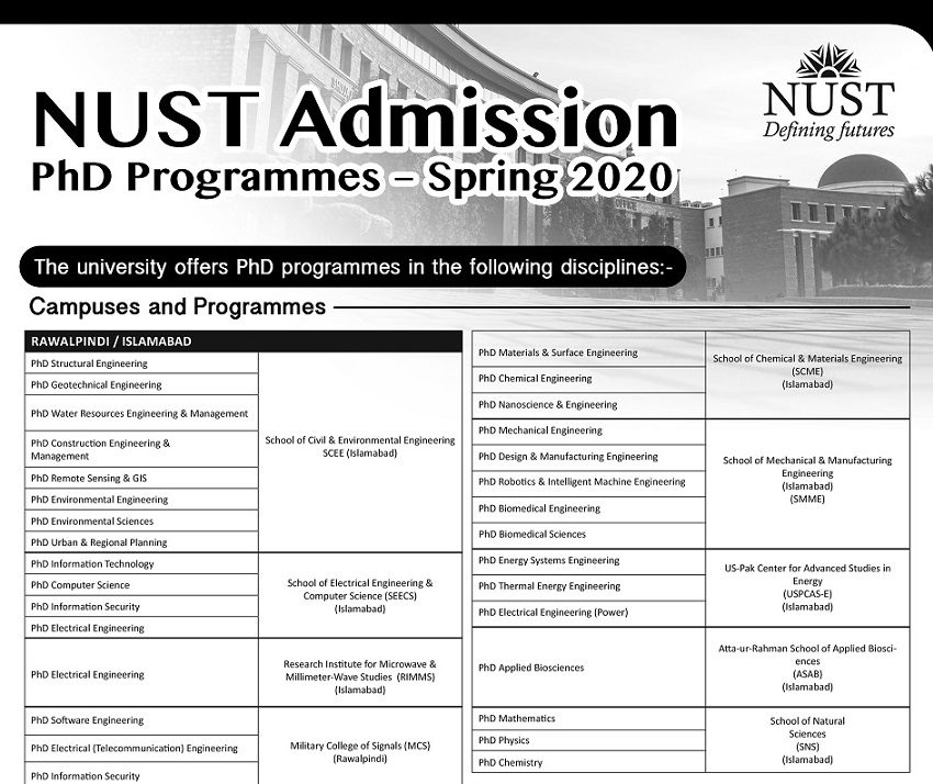 National University of Science & Technology Islamabad NUST
