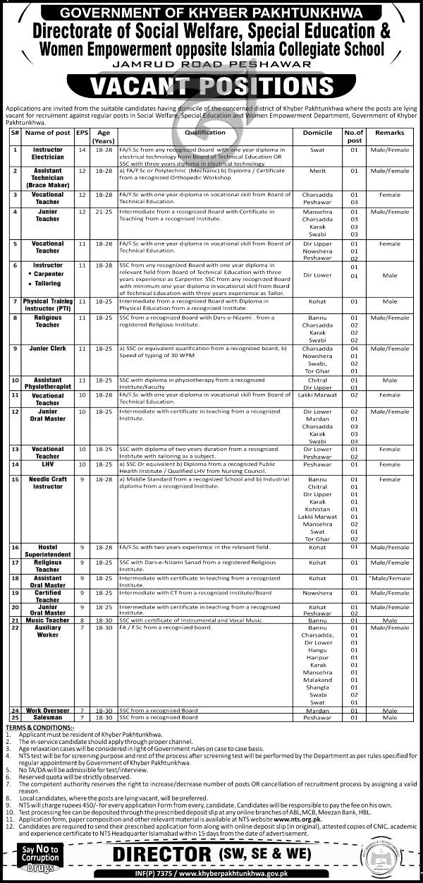 Directorate of Social Welfare Special Education & Women Empowerment NTS Jobs 2021 Apply Online