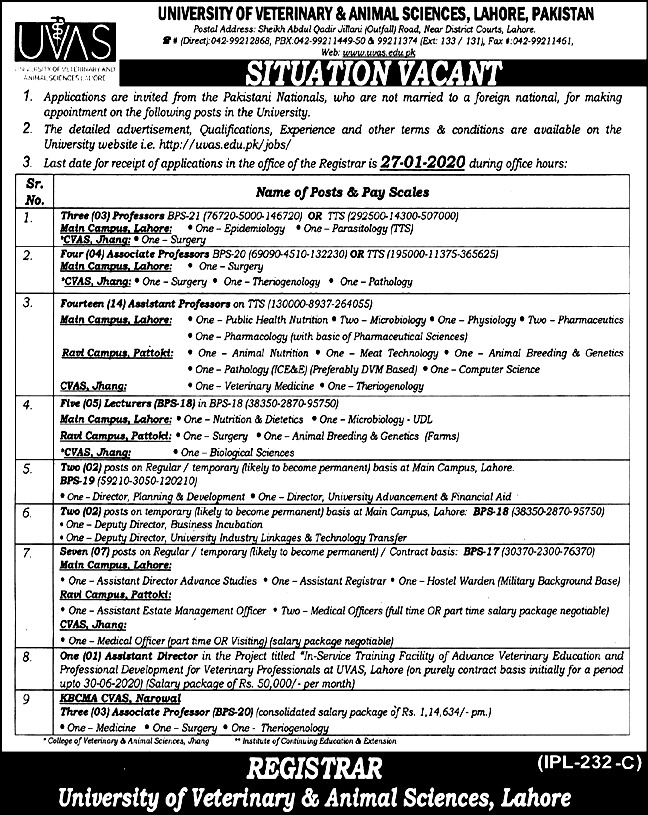 Jobs in University of Veterinary & Animal Sciences 2021 Apply Online Application Form Eligibility Criteria