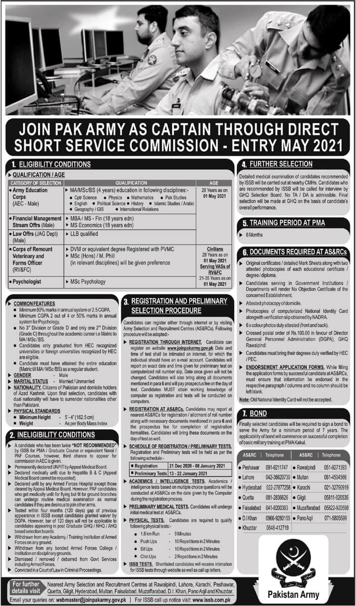 Join Pak Army as Captain Through Direct Short Service Commission 2021 Apply Online Last Date