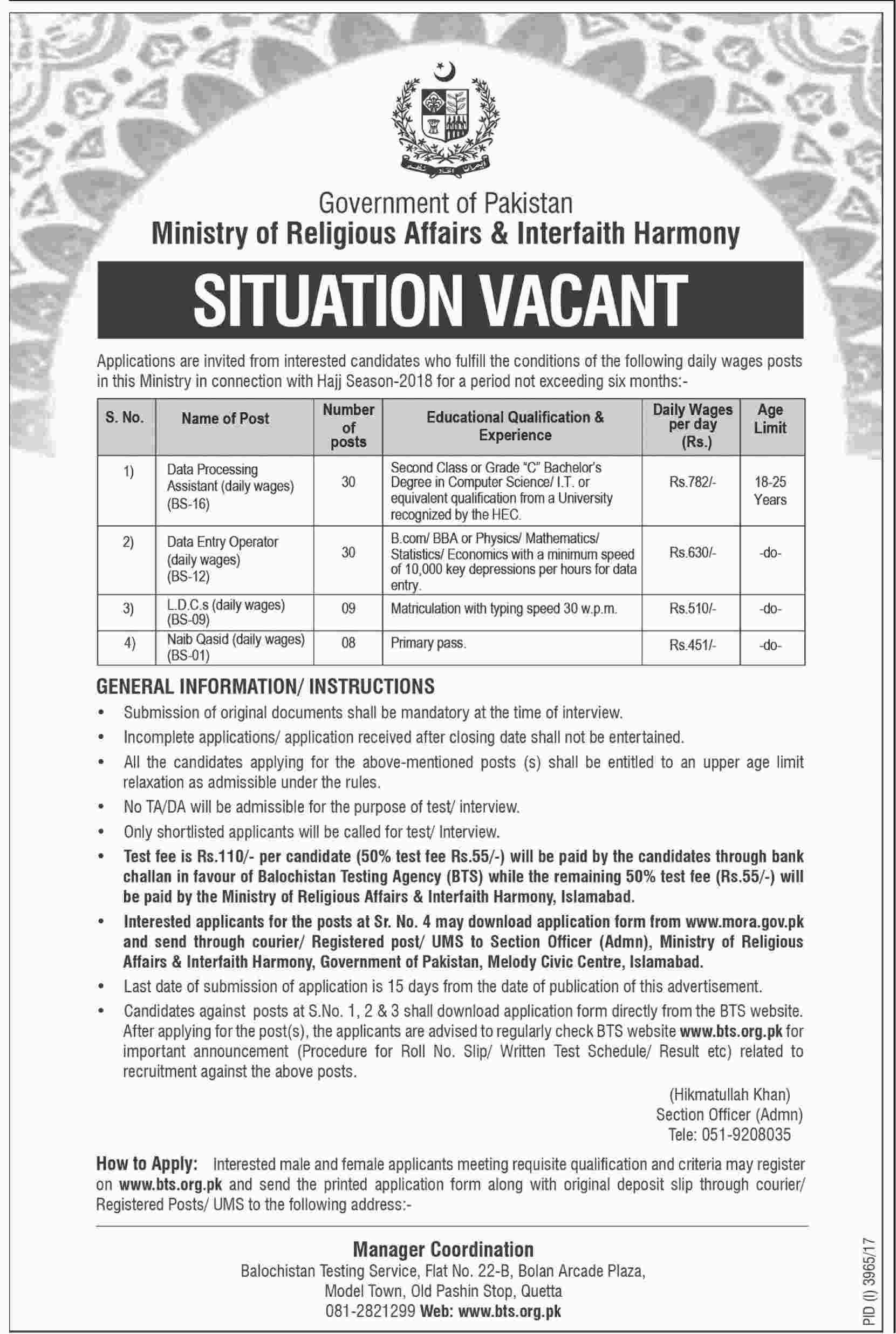 BTS Ministry of Religious Affairs & Interfaith Harmony Jobs 2021 Form Roll No Slips Syllabus Download