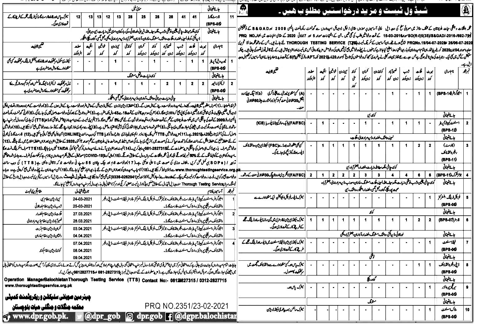 Jobs in Forest and Wildlife Department Balochistan 2021 Application Form