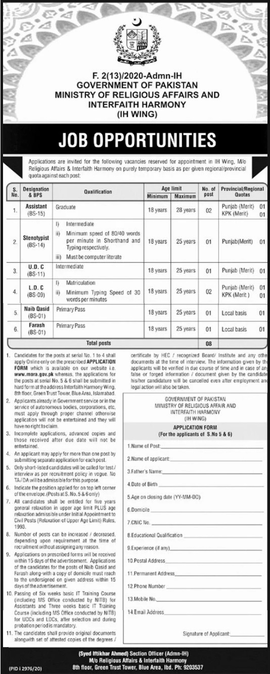 Ministry of Religious Affairs & Interfaith Harmony Jobs 2021 Test Date Interview Schedule