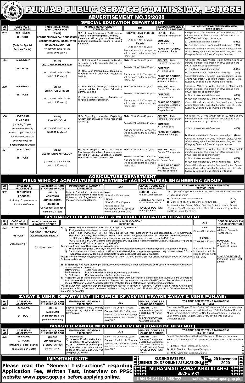 PPSC Special Education Department Jobs 2021 Apply Online Eligibility Criteria