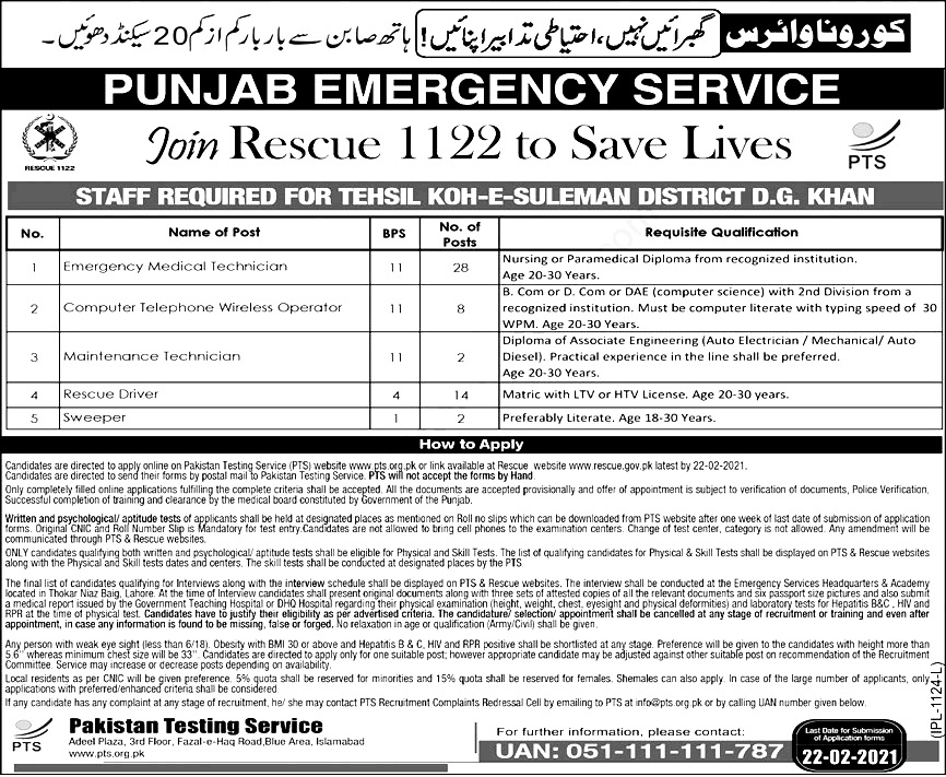Rescue 1122 PTS jobs 2021 Apply Online for EMT