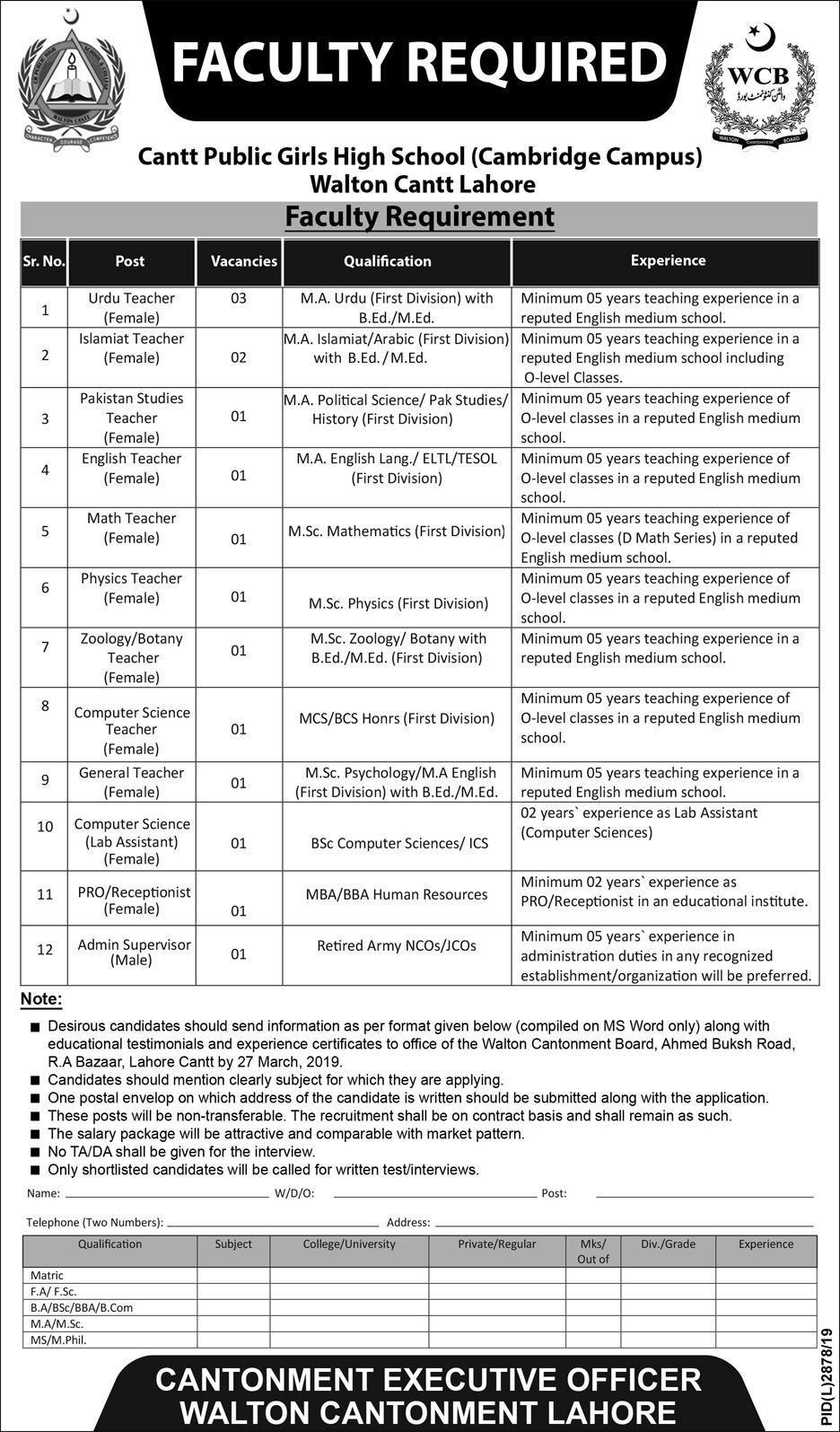 Cantt Public Girls High School Lahore Jobs 2021 March Application Form