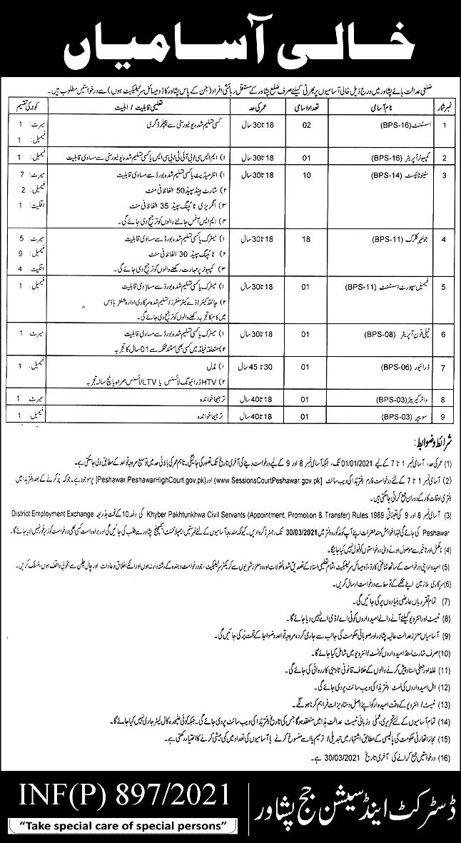 District & Session Court Peshawar Jobs 2021 Application Form Eligibility Criteria Roll No Slips