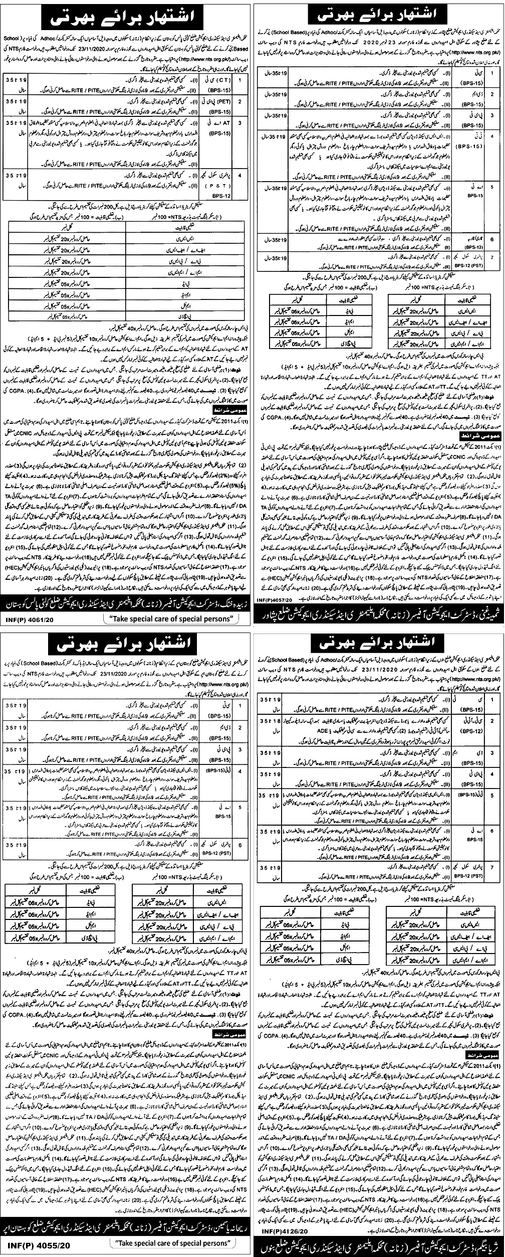 Elementary and Secondary Education KPK Jobs 2021 NTS Apply Online