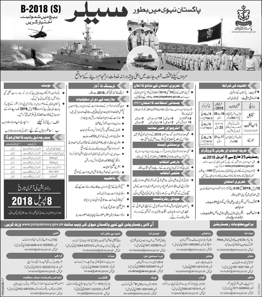 Join Pak Navy as Saler March Jobs 2021 Apply Online
