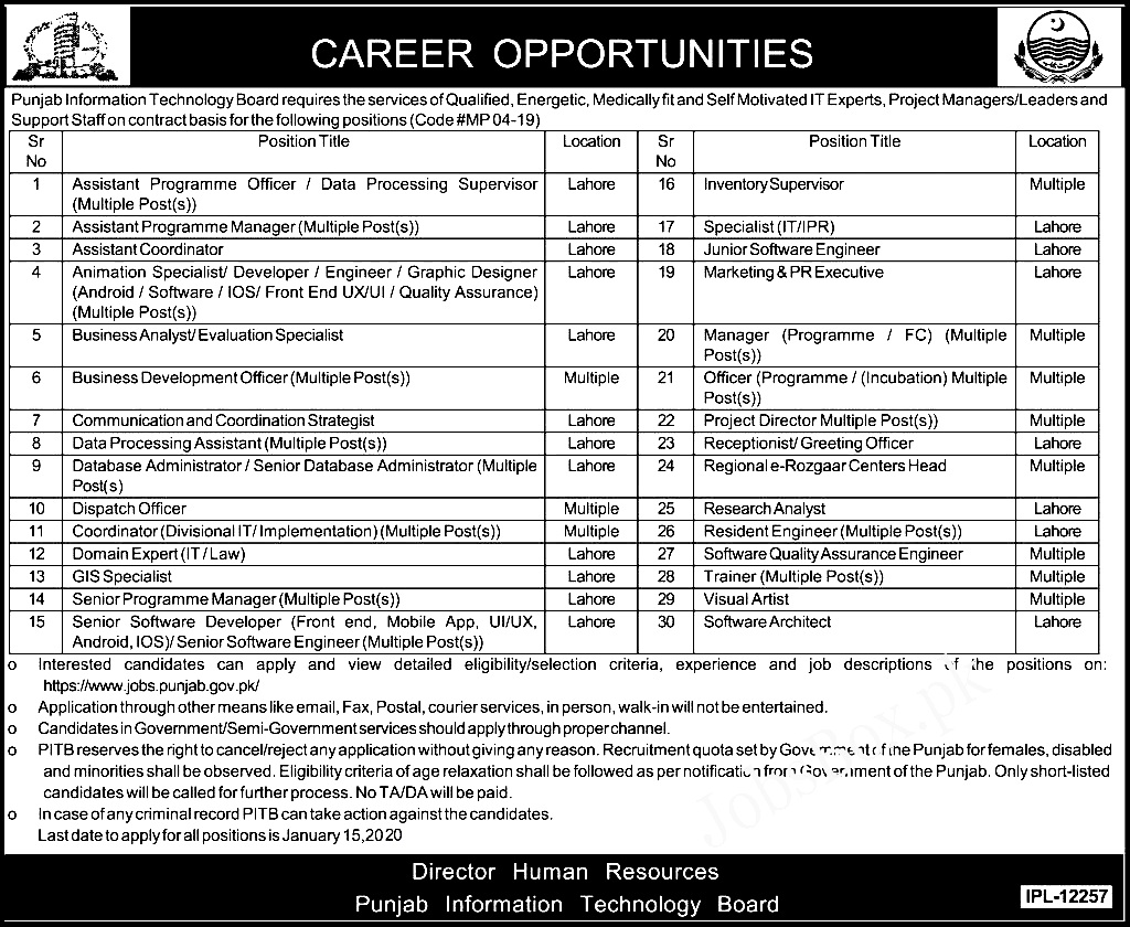 Punjab Information Technology Board PITB Jobs 2021 Apply Online Eligibility Criteria Interview Schedule