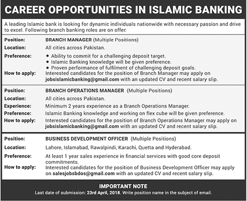 Islamic Bank Branch Manager Jobs 2021 Apply Online