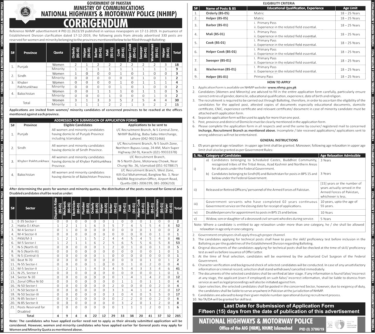 National Highways & Motorway Police Jobs 2021 Application Form Eligibility Criteria