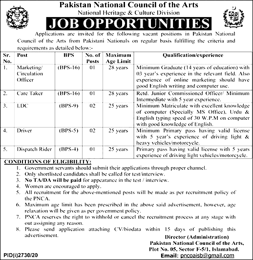 Pakistan National Council of Art Jobs 2021 Islamabad Online Application Forms Download