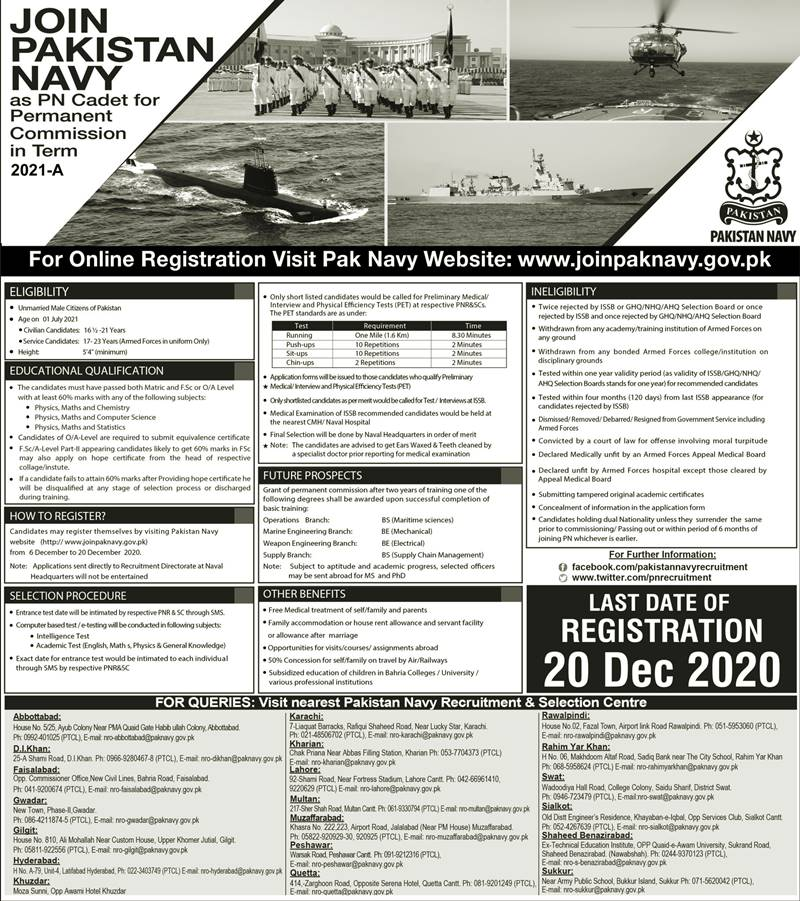 Join Pak Navy as PN Cadet of Permanent Commission 2021 A Apply Online