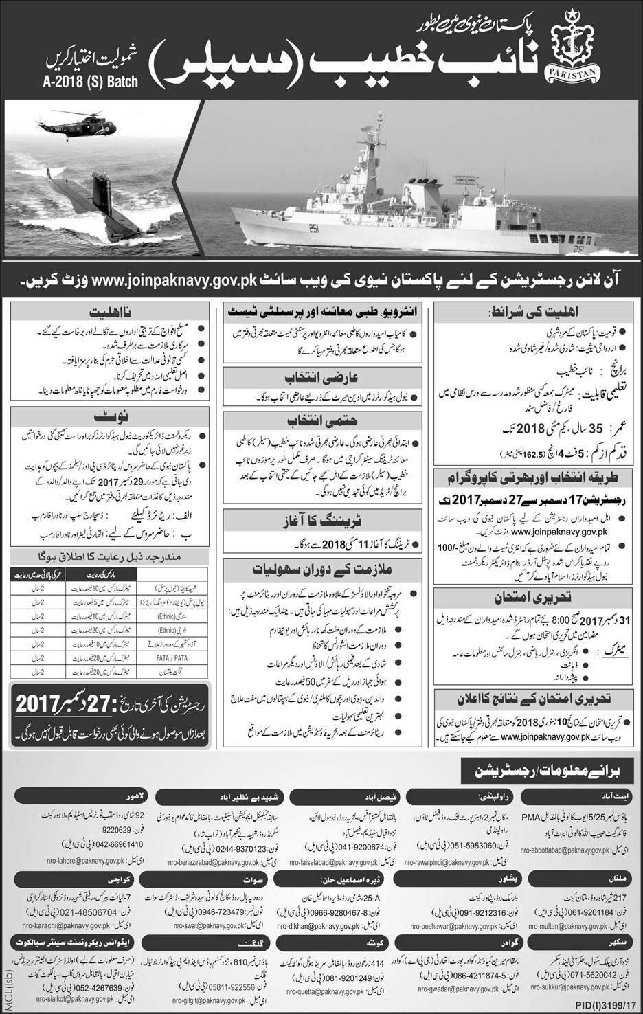 Join Pak Navy as Naib Khateeb Sailor Batch A 2021 Online Application Forms Schedule