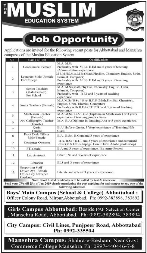 The Muslim Education System Lecturer Abbottabad Jobs 2021
