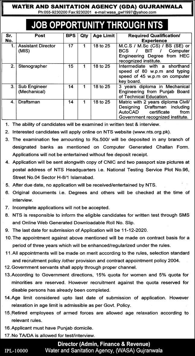 Water and Sanitation Agency Gujranwala Jobs 2021 Last Date