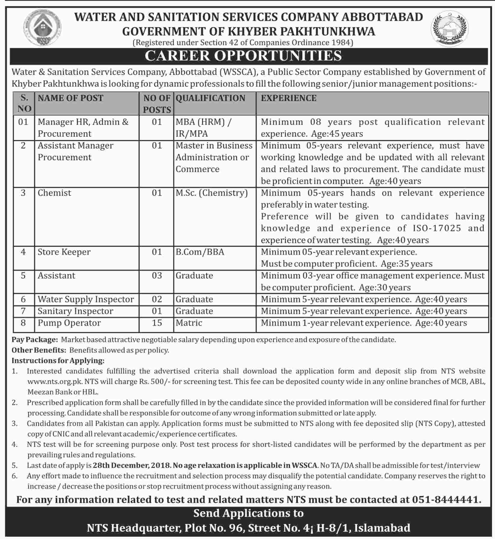 Water & Sanitation Services Company Abbottabad NTS Jobs 2021 Apply Online