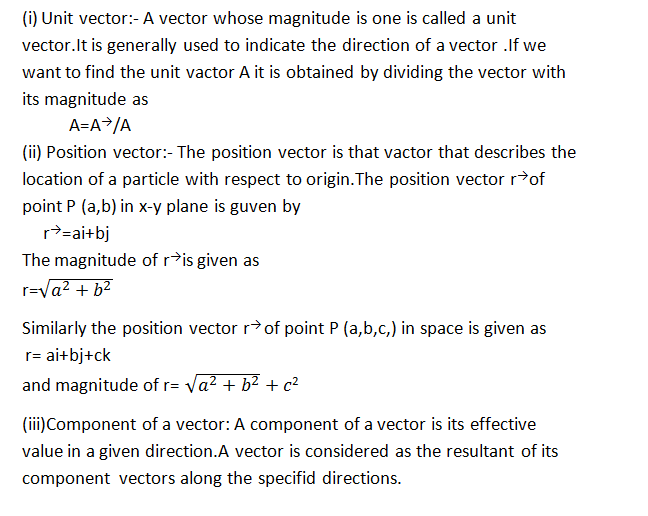 11th Class Physics Chapter 2 Vectors And Equilibrium Short Question