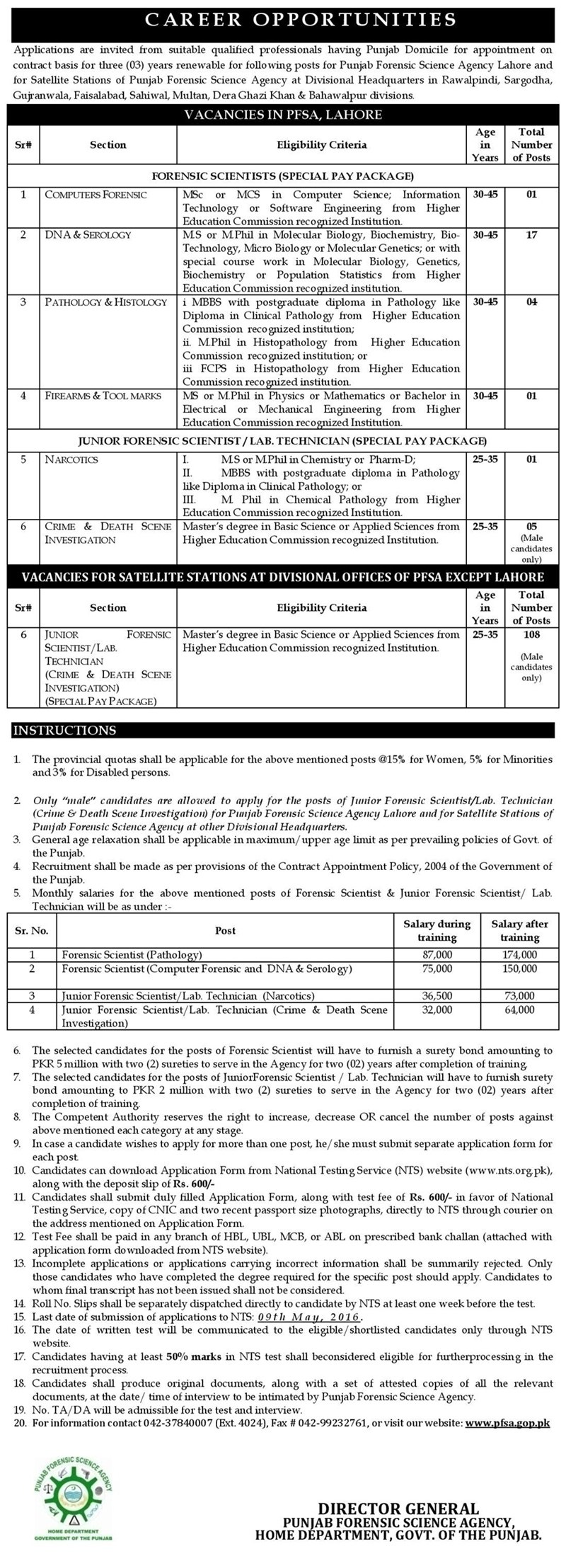 Punjab Forensic Science Agency Jobs NTS Test